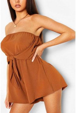 Terracotta Tie Front Bandeau Flippy Playsuit