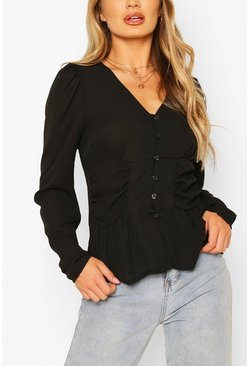 Black Woven Ruched Button Through Blouse