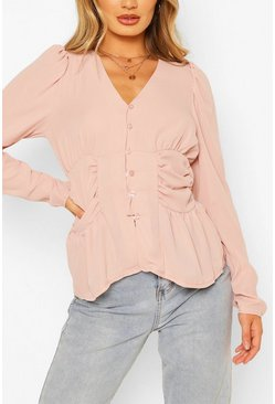Blush Woven Ruched Button Through Blouse