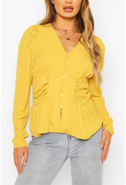 Yellow Woven Ruched Button Through Blouse