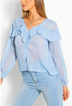 Blue Metallic Dobby Ruffle Blouse