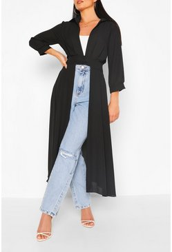 Black Woven Button Through Maxi Shirt