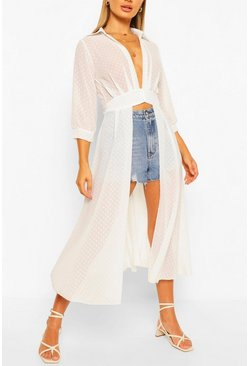 Ivory Woven Dobby Button Through Maxi Shirt