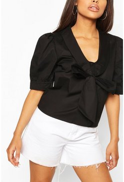 Black Woven Collar Detail Blouse