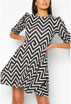 Black Zigzag Puff Sleeve Skater Dress