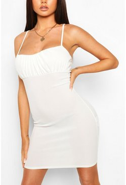 Ivory Strappy Rib Mini Dress