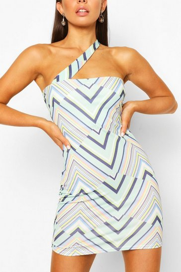 Mint Geo Print One Shoulder Mini Dress