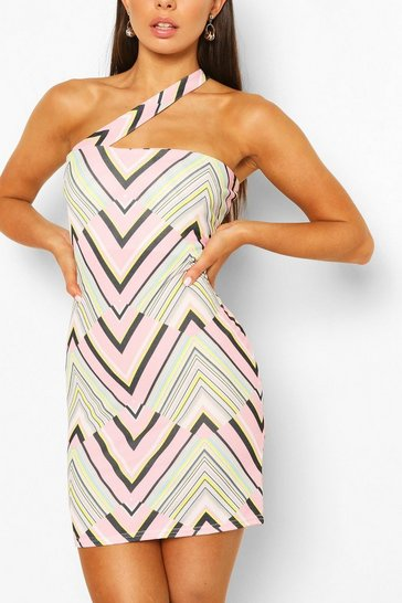 Pink Geo Print One Shoulder Mini Dress
