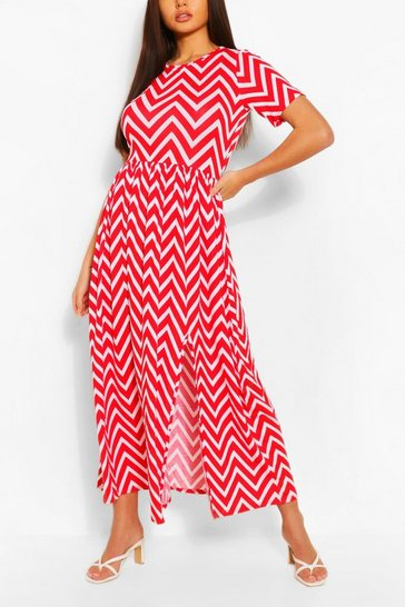 Red Zigzag Maxi Dress With Front Split