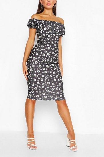 Black Daisy Print Milkmaid Style Mini Dress