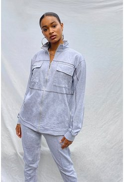 Grey Patch Pocket Oversized Zip Through Sweat Jacket