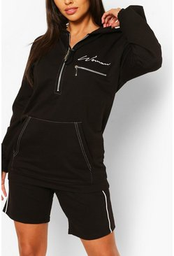 Black Woman Oversized Half Zip Hoody