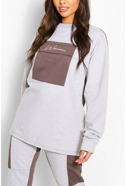 Grey marl Woman Pocket Detail Oversized Sweat