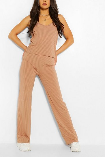 Camel Ribbed Scoop Neck Top & Wide Leg Trouser Co-ord