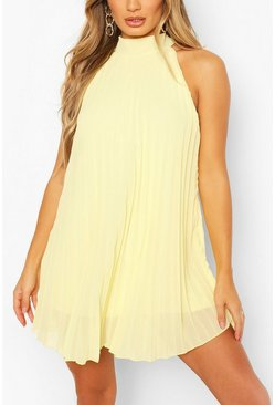 Lemon High Neck Sleeveless Pleated Swing Dress