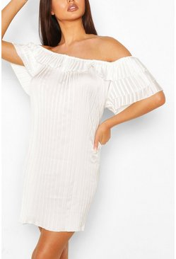 White Pleated Ruffle Sleeve Smock Dress