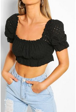 Black Broderie Sqaure Neck Crop Top