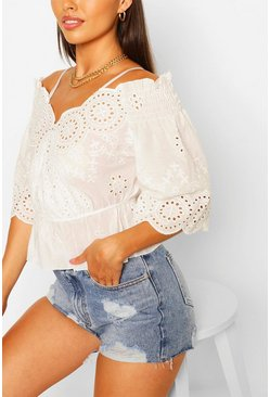 Ivory Broderie Cold Shoulder Top