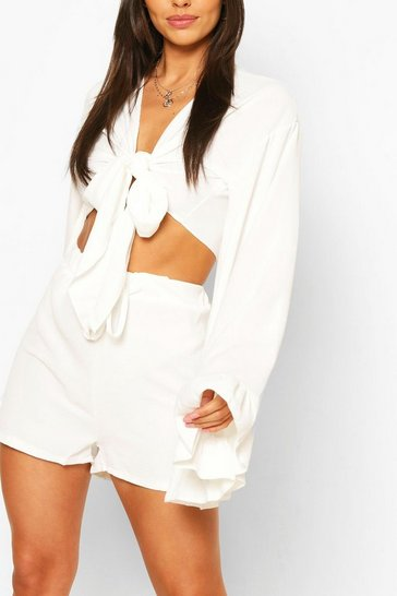 White Flare Sleeve Top & Frill Hem Shorts Co-ord