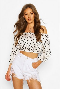 Satin Polka Dot Off The Shoulder Crop Top, White