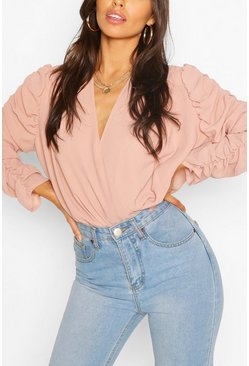 Blush Woven Ruched Sleeve Blouse