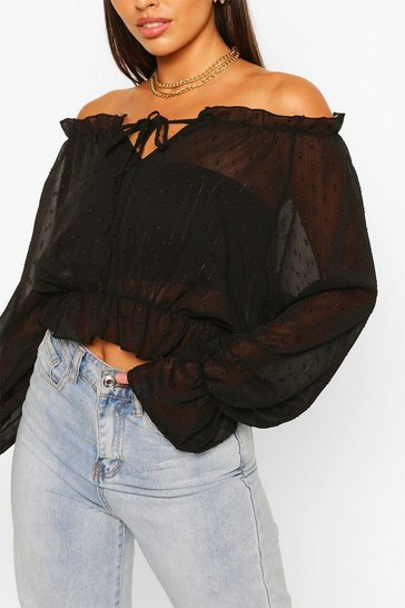 Black Woven Dobby Off The Shoulder Top