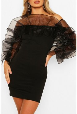 Black Extreme Organza Ruffle Off The Shoulder Mini Dress