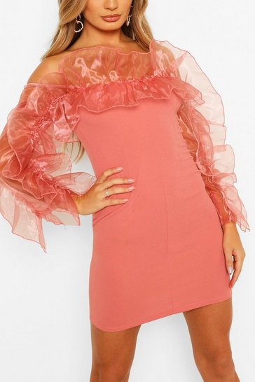 Pink Extreme Organza Ruffle Off The Shoulder Mini Dress