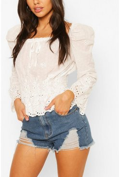 White Broderie Square Neck Blouse