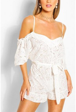 White Broderie Lace Cold Shoulder Belted Playsuit