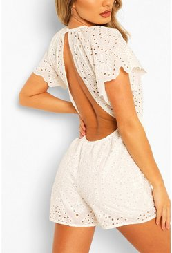 White Broderie Lace Open Back Romper