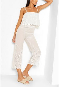 White Broderie Off The Shoulder Overlayer Jumpsuit