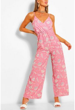 Rose Paisley Print Wrap Strappy Jumpsuit