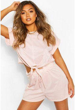 Crystal pink Soft Loopback Tie Detail Shorts
