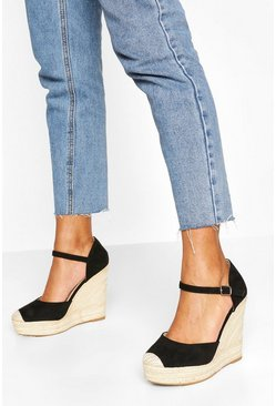 Black 2 Part Espadrille Wedges