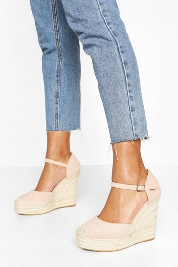 Nude 2 Part Espadrille Wedges