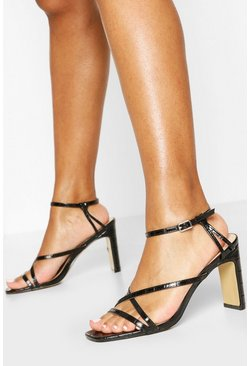 Strappy Flat Heel Sandals, Black