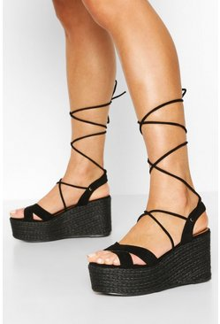 Black Wrap Up Strap Raffia Wedges