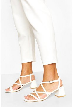 White Multi Strap Low Block Heels