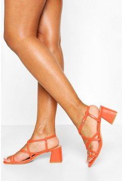 Orange Multi Strap Low Block Heels