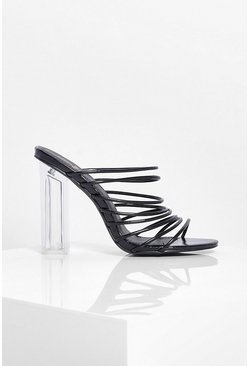 Black Clear Block Heel Multi Strap Mules