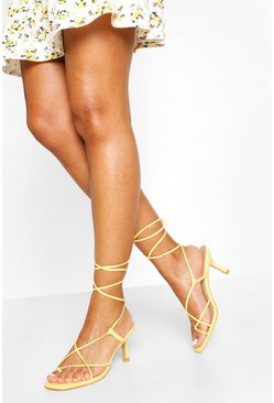 Lemon Wrap Up Strappy Low Stiletto Heels