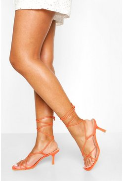 Wrap Up Strappy Low Stiletto Heels, Orange
