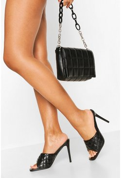 Square Toe Quilted Mules, Black