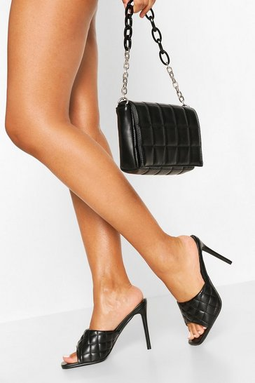 Black Square Toe Quilted Mules