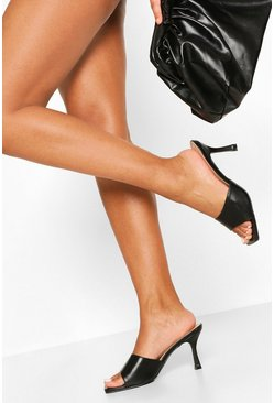 Black Square Toe Bow Stiletto Heel Mules