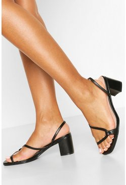 Black Curved Strap Low Block Heel Mules