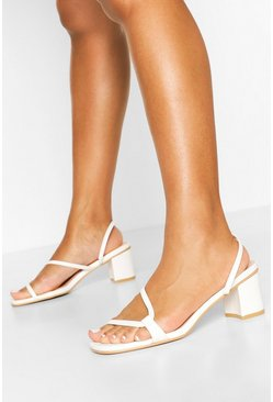 White Curved Strap Low Block Heel Mules