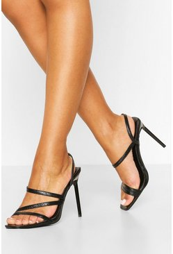 Square Toe Strappy Stiletto Heels, Black