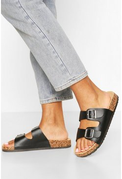 Black Double Buckle Footbed Sliders